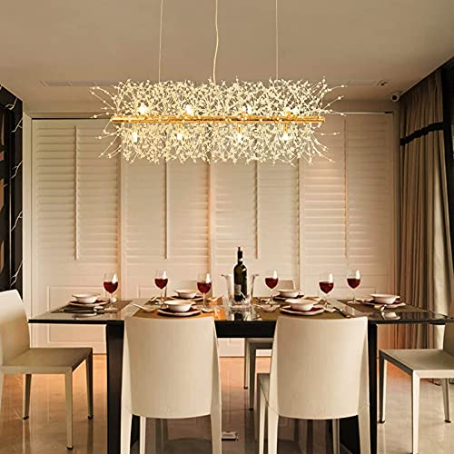 "Trongee 35.5""Crystal Chandelier, LED Firework Pendant Light Fixtures, Gold Modern Hanging Lamp for Kitchen Island Dining Room Foyer Living Room Bedroom Restaurant Store"