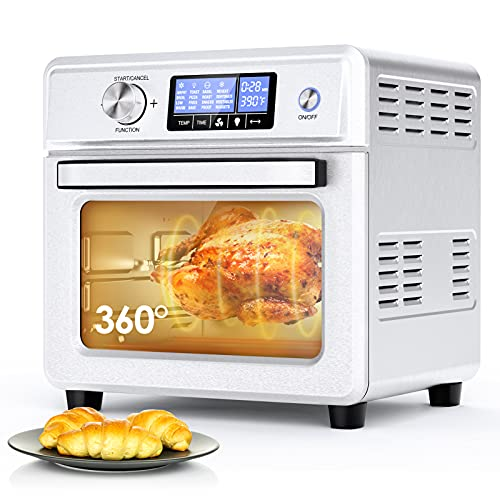 Convection Oven, ICETEK 16-in-1 Air Fryer Toaster Oven Combo, Large Air Fryer Rotisserie Oven Dehydrator Stainless Steel with Digital Temperature Control, 9 Accessories & Cookbook (21QT/20L 1800W)