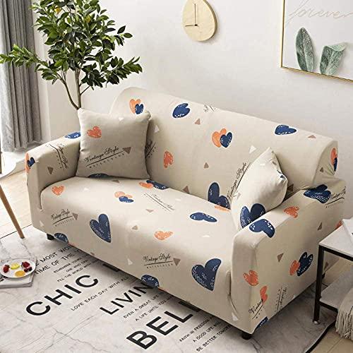 WLVG Funda para sofá elástica 3 plazas 190-230 cm Sofá Vintage Amarillo con Forma de corazón Funda de sofá de Tela elástica Suave Suave para Sala de Estar Sofás Cama Chaise Lounge Sillón Muebles