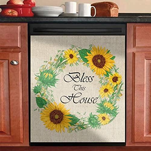 Cubierta para puerta de lavaplatos, magnética para lavaplatos, etiqueta magnética floral magnética, reutilizable, decoración de cocina, fácil