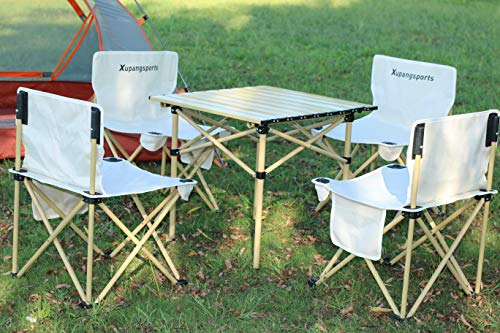JJBJZY Portable Folding Camping Table Chair Set Include One Desk with Hard-Topped Aluminum Table Top, Four Collapsible Chairs,Perfect Choice for Picnic, Camp, Beach, Boat, Garden, Travel,Outdoor