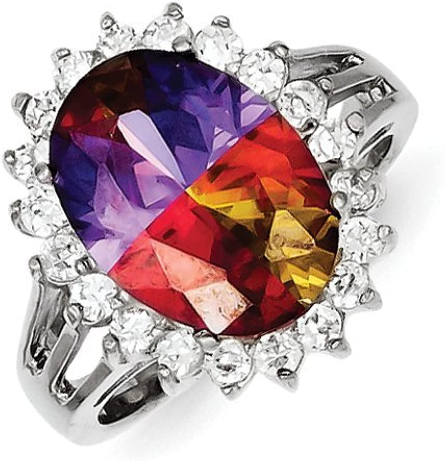 gold and Watches Sterling Silver Multicolor CZ Ring