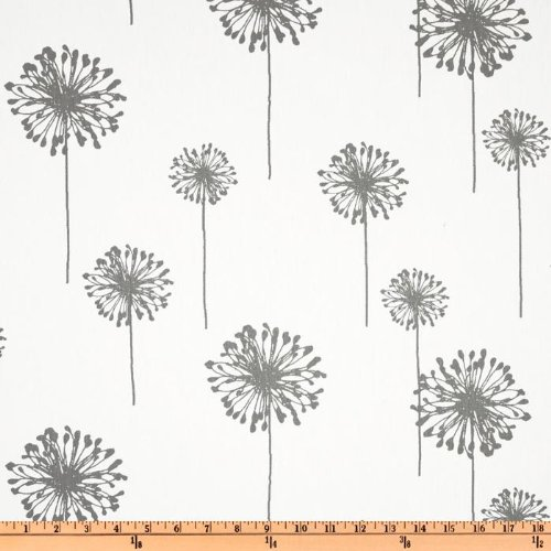 Premier Prints Dandelion Twill, Yard, White/Storm