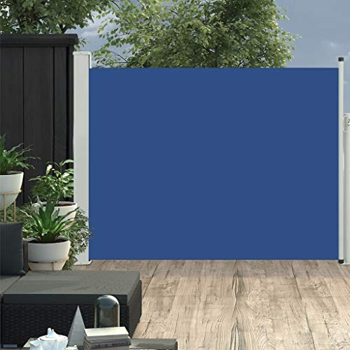 vidaXL Toldo Lateral Retráctil para Patio Pantalla de Terraza Mampara Parasol de Exterior Jardín Tela de Lona PU Azul Soporte de Hierro 170x500 cm