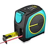 Mileseey Laser Tape Measure 2-in-1, Laser Measure 197 Ft, Tape Measure 16 Ft Metric and Inches, Rechargeable Polymer Lithium Battery Large LCD Display
