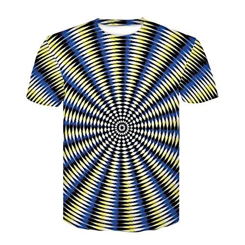 MEIPINPAI T-Shirt T-Shirt à Capuche pour Homme Rayures imprimées 3D Vertige Fleur rafraîchissant Costume à Manches Courtes à Capuche-Une_4XL