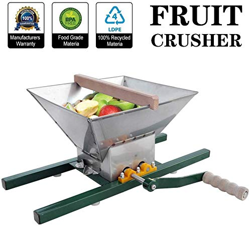 Fruit and Apple Crusher - 7L Manual Juicer Grinder,Portable Fruit Scratter Pulper for Wine and Cider Pressing(Stainless Steel,1.8 Gallon)