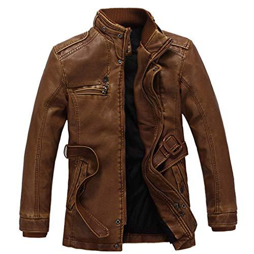 Preisvergleich Produktbild LSAltd männer Klassische Retro einfarbig Kunstleder Mantel Casual Langarm Stehkragen reißverschluss Jacke