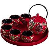 Juego de té para Adultos Juego de té de Porcelana China roja con Tetera con 6 Tazas y Bandeja de té para Boda Juego de...