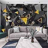 Msrahves Fotomural Vinilo Tridimensional dorado negro geométrico grande Mural TV Fondo Papel de pared Sala de estar Sofá Dormitorio Papel tapiz Papel pintado creativo moderno tejido no tejido