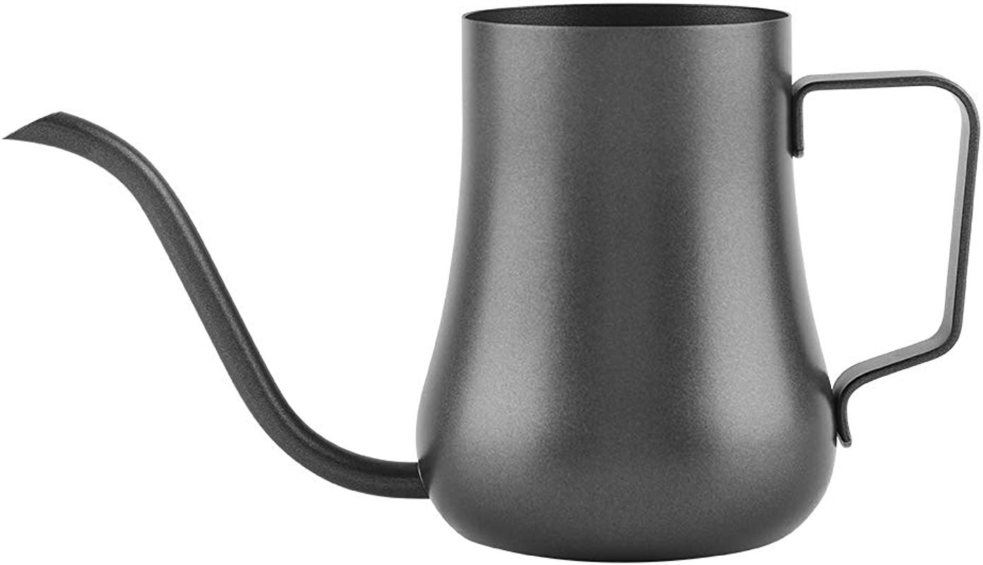 Delaman Coffee Pot Long Gooseneck Spout Kettle 350ml 304 Stainless Steel Black For Kitchen Cafe Shop