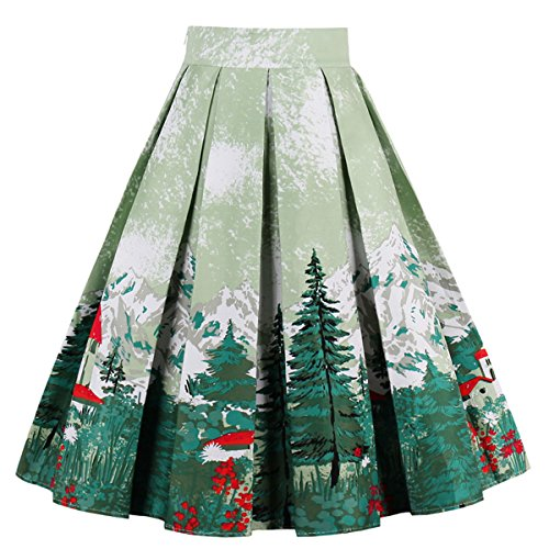 Dressever Women's Vintage A-line Printed Pleated Flared Midi Skirts Christmas Trees Large