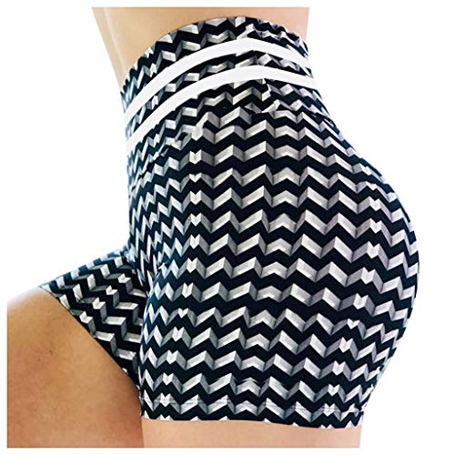 No-Branded WZGGZWGG Sexy Sport ShortsCasual 3D Printed Quick-Dry-dünner Stretch mit hohen Taille Shorts Yoga Hosen for Frauen (Color : Schwarz, Size : XXXL)