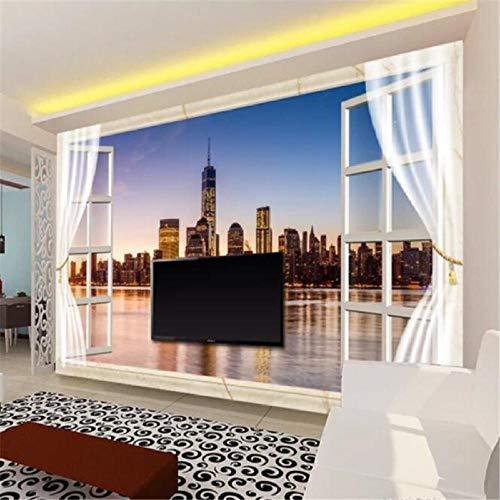 Papel pintado personalizado 3D Photo Murals Ventana Nueva York Vista Noche Sala de Estar Dormitorio Sofá Fondo Papel de Pared 3D Mural, 300 (W)210H) cm
