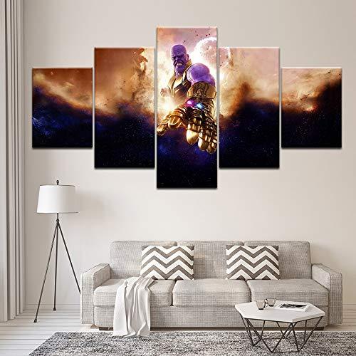 Cuadros modernos de lienzo Imprimir Marco de arte de pared 5 piezas Cartel de película Avengers Infinity War Decoración para el hogar Sala de estar o dormitorio Poster30x40 30x60 30x80cmCon marco