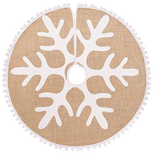 N&T NIETING Christmas Tree Skirt, 48 Inches Christmas Tree Skirt Mat for Christmas Holiday Party Decorations Christmas Indoor Outdoor Home Office Decorations