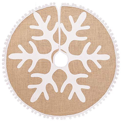 N&T NIETING Weihnachtsbaum Rock 120cm Rustikal Weiße Schneeflocke Gedruckt und Kleine Pompoms Kante Sackleinen Weihnachtsbaumteppich Ornamente Dekoration für Weihnachten, 48 Zoll