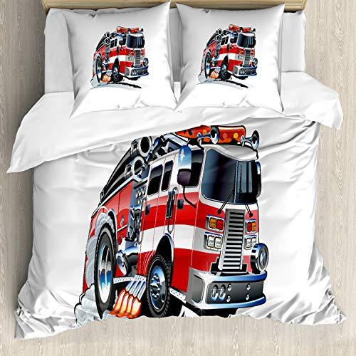 ABAKUHAUS LKW Bettwäsche Set für Doppelbetten, Feuerwehr LKW, Weicher Microfaserstoff Allegigeignet kein Verblassen, Babyblau Scharlachrot