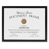Lawrence Frames ブラック木製証明書フォトフレーム ギャラリーコレクション 8-1/2 x 11インチ