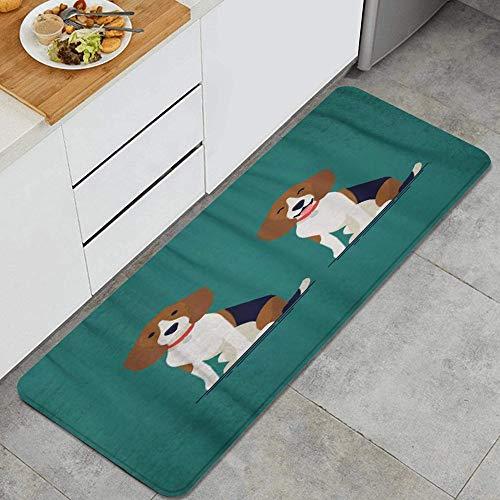 VAMIX Alfombra de Cocina,Adorable Personaje de Perro pequeño en Beagle Hound Sentado,tapete Decorativo para Piso de Cocina con Respaldo Antideslizante, 47
