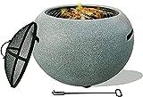 FSFF Tavolo da pozzo Rotondo sferico, riscaldatore per Patio con Coperchio, braciere Rotondo per Barbecue da Esterno, fornello in Pietra Artificiale, con griglia a Rete Spark, Camino da Giardino