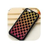 Iphone 6 6S 7 8 Plus Xs Max Xr 5S Seバックカバーシェル用のチェック柄市松ソフトフォンケース、Iphone 8 Plus用、5465