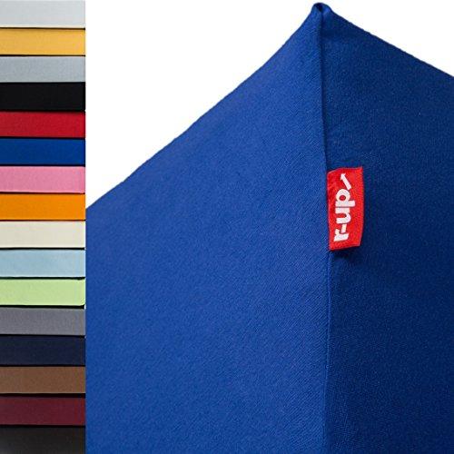 r-up Beste Spannbettlaken 140x200-160x220 bis 35cm Höhe viele Farben 95% Baumwolle / 5% Elastan 230g/m² Oeko-Tex stressfrei auch bei 160cm Breite (Royalblau)