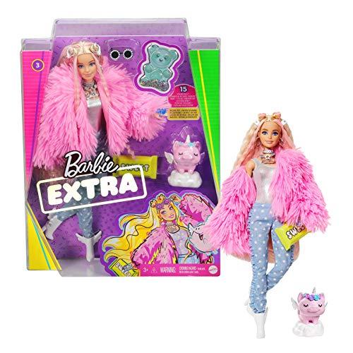 Barbie Extra Bambola con 10 Accessori alla Moda, Giocattolo per Bambini 3+ Anni, GRN28