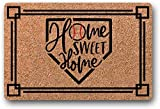 BXBCASEHOMEMAT Home Sweet Home Baseball Doormat/Baseball Welcome Mat/Funny Doormat/Cute Doormat/Front Porch Decor/Baseball Season/Baseball Decor 18' x 30'