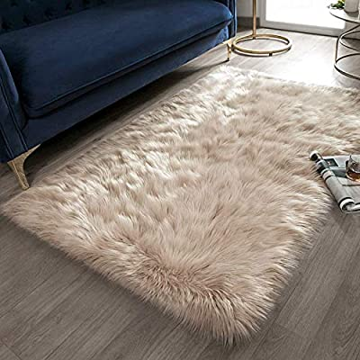 Ashler Soft Faux Rectangle Fur Chair Couch Cover Beige Area Rug for Bedroom Floor Sofa Living Room Rectangle 3 x 5 Feet