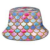 out Unisex Packable Fischerhüte Sonnenhüte Watercolor Mermaid Scales Summer Herren Damen Fishing Sun Hat Hunting Boonie Hat for Herren Damen Men