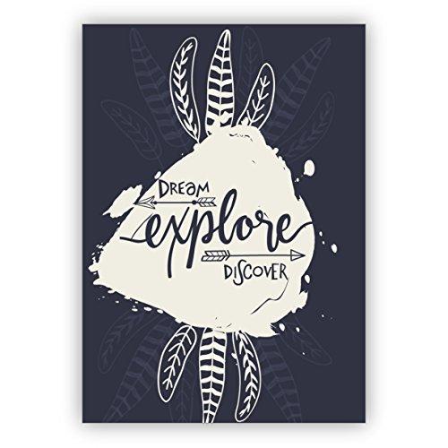 5 stuks felicitaties wenskaarten motiverende wenskaart/verjaardagskaart in Indian Boho Style: Dream explore discover