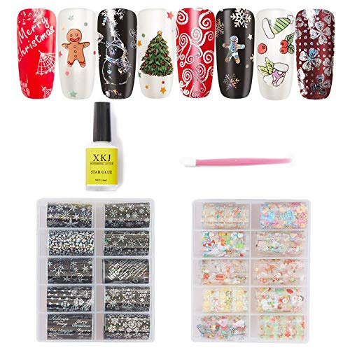 20 Rolls Christmas Nail Stickers Foil Transfers Stickers Winter Snowman Snowflake Christmas Tree Elk Nail Decals DIY Nail Art Tips for Women Manicure Tips Wraps Nail Design