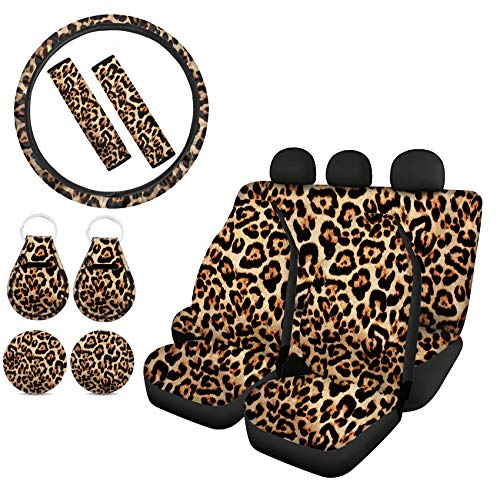 Goyentu Brown Leopard Car Seat Covers Full Set with 2 Seat Belt Pads & Universal 15 Inch Steering Wheel Cover Cup Holder Coasters Key Chains Wild Cheetah Car Accessories Universal Fit for Women