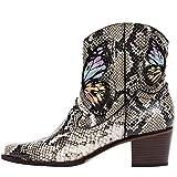 aznz Damen Cowboystiefel Stiefeletten Blockabsatz Stiefel Schmetterling Schuhe Leder...