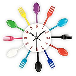 Timelike Kitchen Wall Clock, 3D Removable Modern Creative Cutlery Kitchen Spoon Fork Wall Clock Mirror Wall Decal Wall Sticker Room Home Decoration (Colorful)