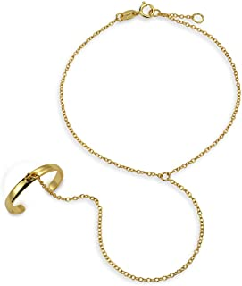 Bling Jewelry Hand Chain Dancer Slave Bracelet for Women and Ring 14K Gold Plated 925 Sterling Silver Adjustable