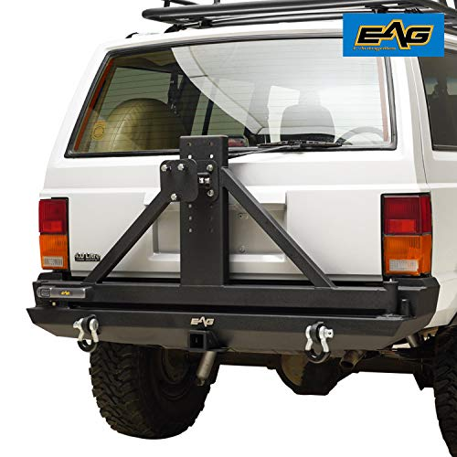 EAG Steel Rear Bumper with Tire Carrier Fit for 1984-2001 Cherokee XJ