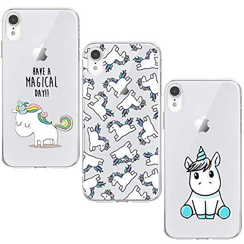 KZIOACSH [3 Pack] Silicona Carcasa Transparente TPU Protección, Ultra Slim Anti Choque Anti Arañazos Compatible para iPhone XR, Unicornio Set