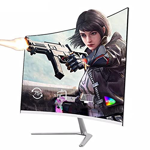 YILANJUN Blanco Curvo Monitor de Juegos, 24', HDMI/VGA, 75Hz, 2800R, FHD 1080P, Diseño Microcuadro 2 mm, Luz Azul Baja y sin Parpadeo