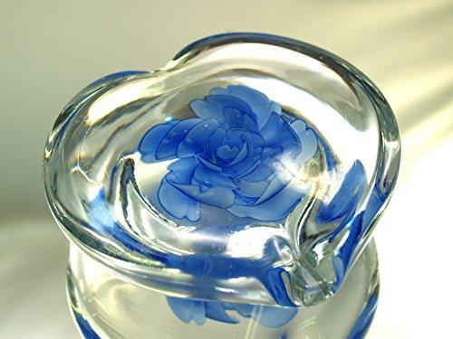 Tripact Inc M Design Art Handcraft Glass Art Sapphire Blue Flower in Glass Heart Paperweight