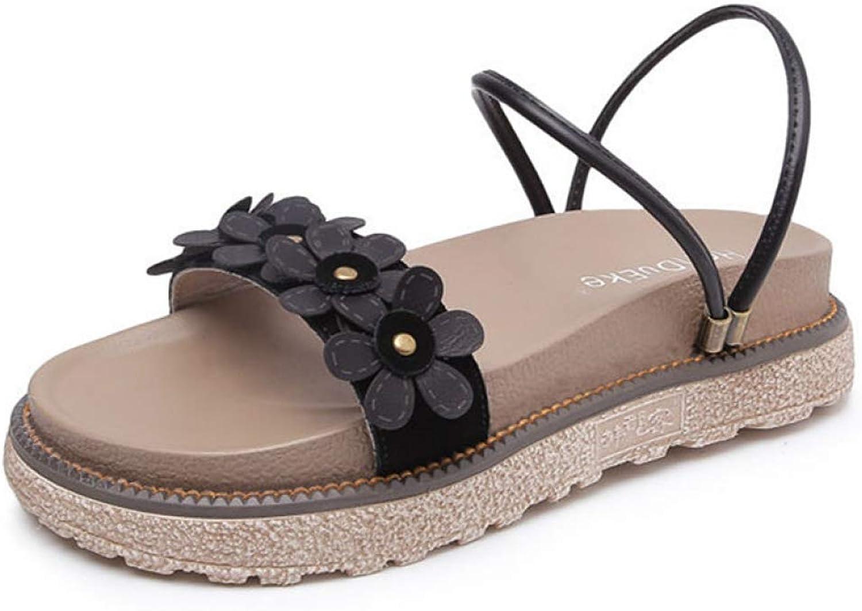 Btrada Women Platform Sandals Sweet Flower Ladies Fashion Soft Concave Design Casual Beach Party shoes