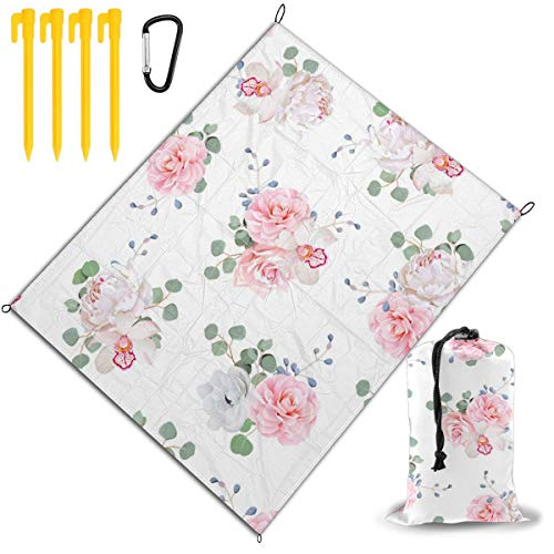 Learn More About Outdoor Picnic Blanket 67x57inch Pink and White Thorny Roses Foldable Waterproof Ex...