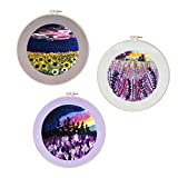 3 Pack Nature Scenery Embroidery Kit for Beginners with Pattern, Needlepoint Starter Kits for Adults,...
