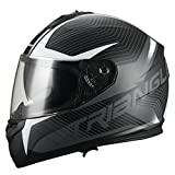Triangle Full Face Dual Visor Matte Black Street Bike Motorcycle Helmet (Medium, Matte Green)