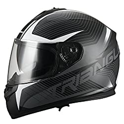 Triangle Full Face Motorcycle Helmet with Dual Visor
