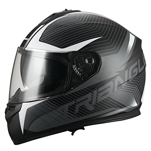 Triangle Full Face Dual Visor Matte Black Street Bike Motorcycle Helmet (Medium, Matte White)