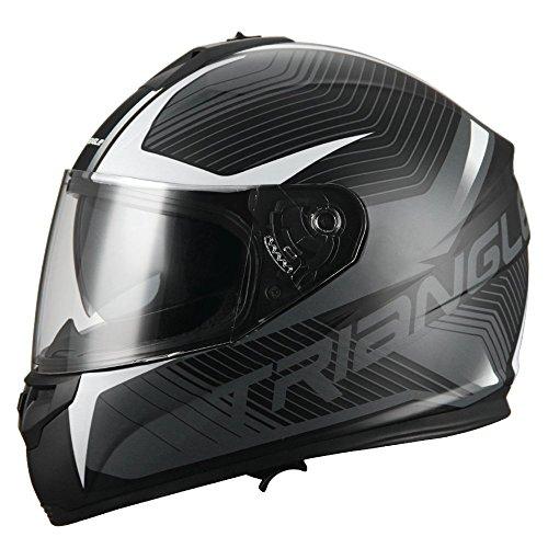 Triangle Full Face Dual Visor Matte Black Street Bike Motorcycle Helmet (Large, Matte White)