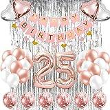 Globo de banner de decoraciones de 25 cumpleaños, pancarta de feliz cumpleaños, globos de número 25 de oro rosa, globos de cumpleaños número 25, suministros de decoración de cumpleaños de 25 años