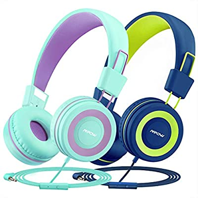 Kids Headphones (2-Pack), Mic & Shring Function Mpow CH8 Wired Child Headsets, 91dB Volume Limited Foldable On-Ear Earphones for Online Learning Toddlers/Children/School/Travel/Plane/Boys/Girls from MPOW